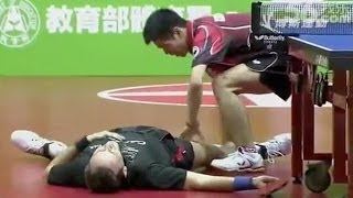The Funniest Table Tennis Match in HISTORY(Watch as Jean-Michel Saive (BEL) plays against good friend Chuang Chih-Yuan (TPE) Tai-Ben International., 2014-01-27T09:44:51.000Z)