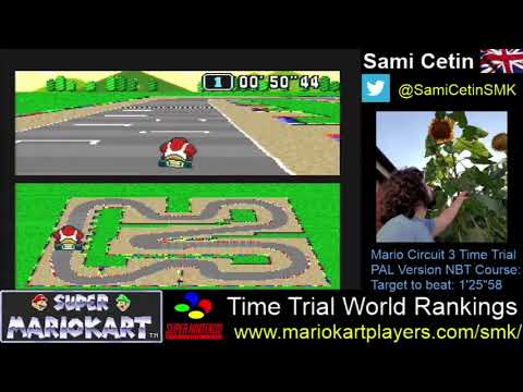 Super Mario Kart SNES Time Trial PAL Mario Circuit 3 Course:  1'25