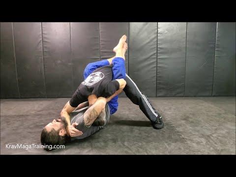 Krav Maga - Defense Against Guillotine Choke - Guard - Bottom Position (Forearm To Throat Variation)