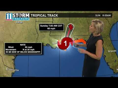 Path of hurricane Nate heading toward Gulf Coast landfall Saturday night