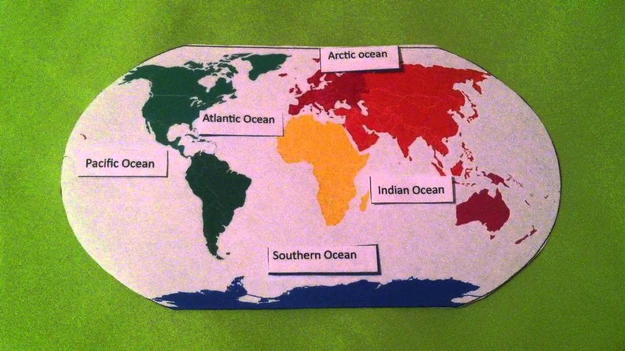 Learn The Five Oceans Song For Kids YouTube - Major oceans of the world map