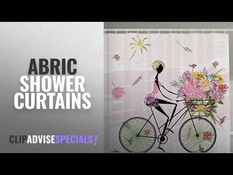 Top 10 Abric Shower Curtains [2018]: Ambesonne Girl Riding a Bike with Watercolor Daisy Flowers