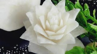 White Radish Flower Carving Easy - How to Make