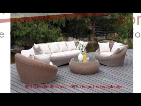 Salon de jardin WHITEHEAVEN en résine tressée - YouTube