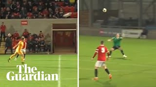 'Oh my god': Bizarre moment player scores header from own half