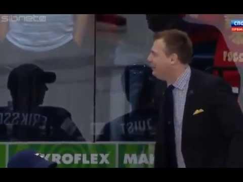 Неприличный жест тренера сборной России по Хоккею!