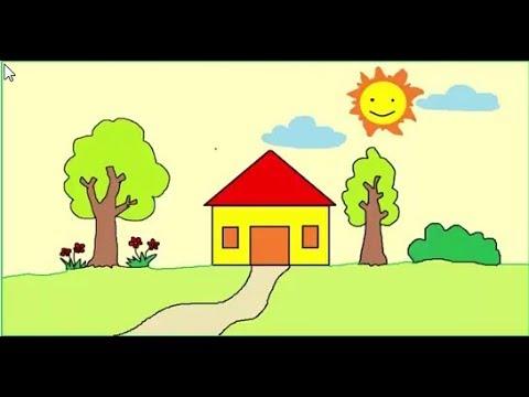 Cách vẽ tranh ngôi nhà  bằng phần mềm paint