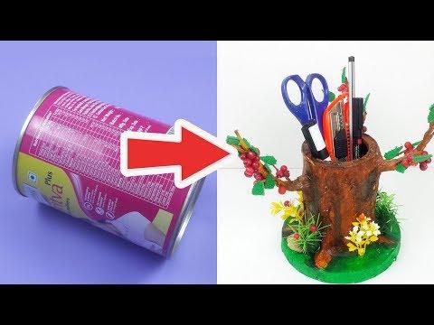 कैसे करें पुराने टिन के डिब्बे का यूज़? आसान क्राफ्ट बनाना  सीखे -  Best out of Waste DIY Organizer
