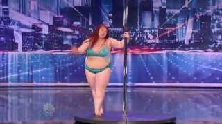big girl lulu trying to work the pole on americas got talent