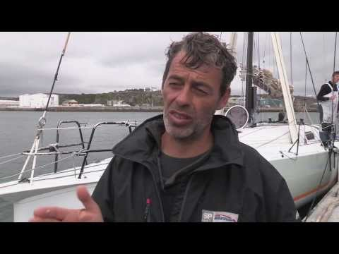 Canting Keel class handicap winner, Nicolas Groleau's Cartouche arrival in Plymouth
