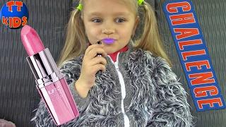 Влог + Челлендж Попробуй накрасить губы в машине Видео для детей