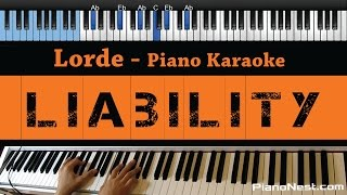 Lorde - Liability - LOWER Key (Piano Karaoke / Sing Along)