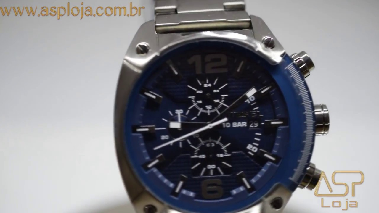 989327ecf8d RLG 4014 Relógio Diesel Masculino Overflow Chronograph DZ4412 1AN Azul