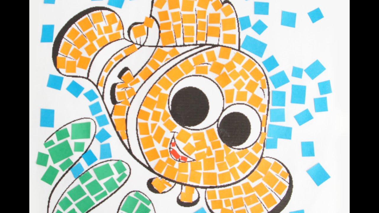 Colorare disegni per bambini la tecnica del mosaico youtube for Disegni per mosaici da stampare