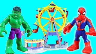 Imaginext Batman Superhero Vacation Day Amusement Park Ferris Wheel Ride ! Joker And Twin Brothers
