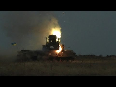 Ukraine army on firing range close to rebel front line