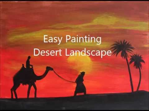 How to paint DESERT LANDSCAPE  Acrylic painting tutorial for beginners   Step by step CAMEL PALMS