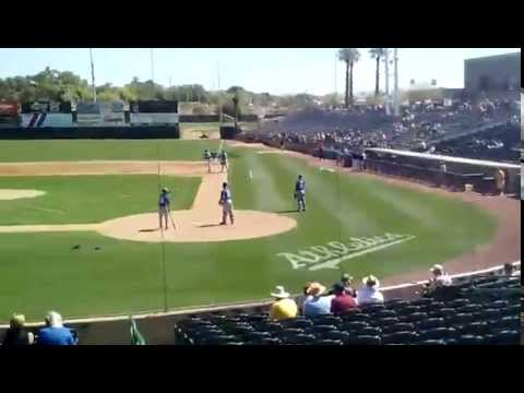 Before a Spring Training game between KC vs. OAK.