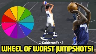 One of Caldy's most viewed videos: WHEEL OF WORST JUMPSHOTS CHALLENGE! DROPPING 2 94 OVERALLS? NBA 2K18 PLAYGROUND