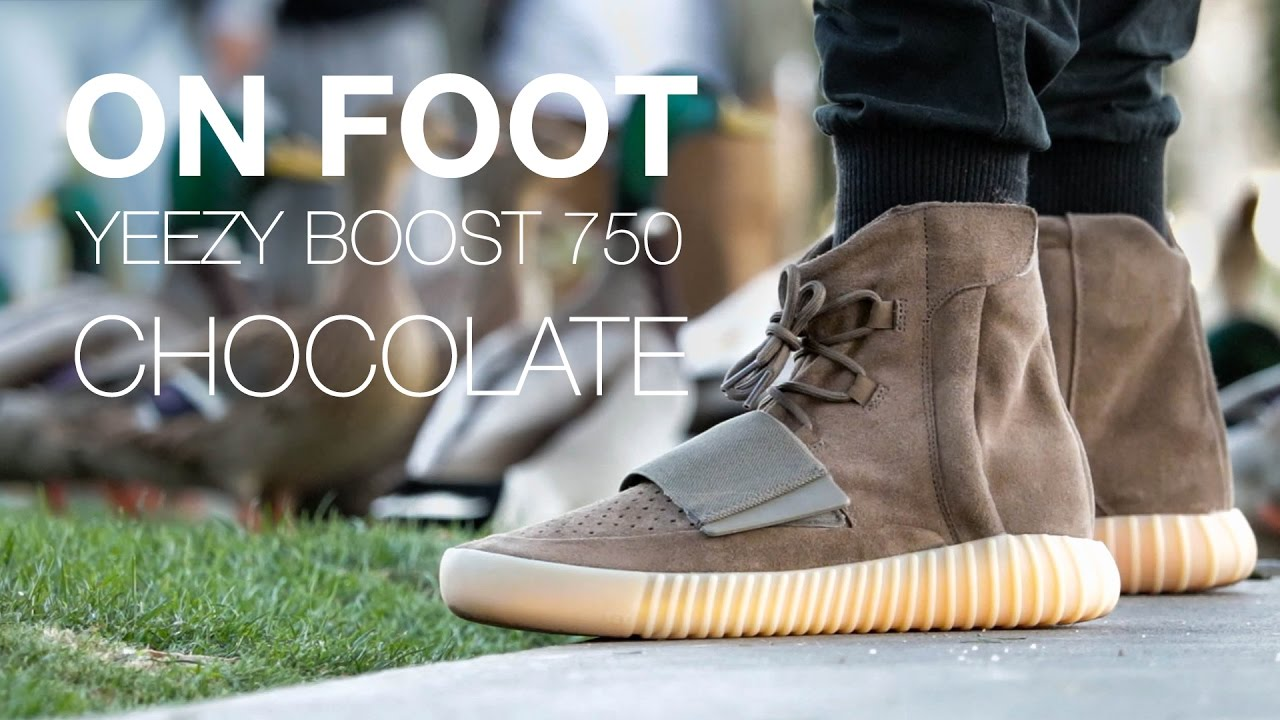 252f125e38d4f ADIDAS YEEZY BOOST 750 CHOCOLATE ON FOOT - YouTube