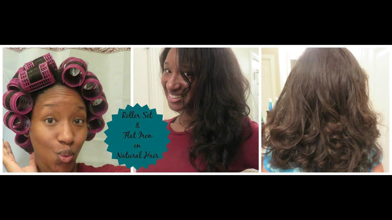 Roller Set Amp Flat Iron On Natural Hair On 2 Different