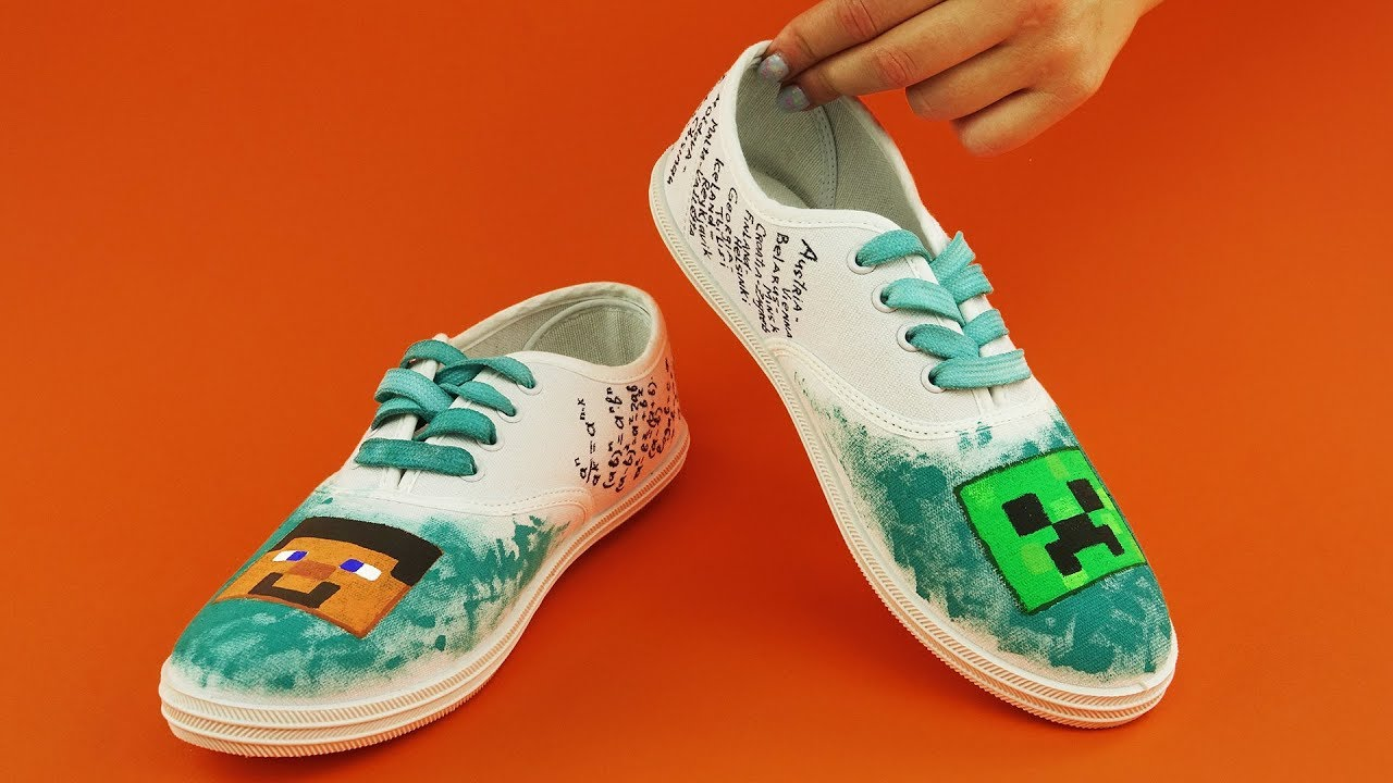 4bf855c372 Minecraft Shoes DIY with Cheat Sheet - YouTube