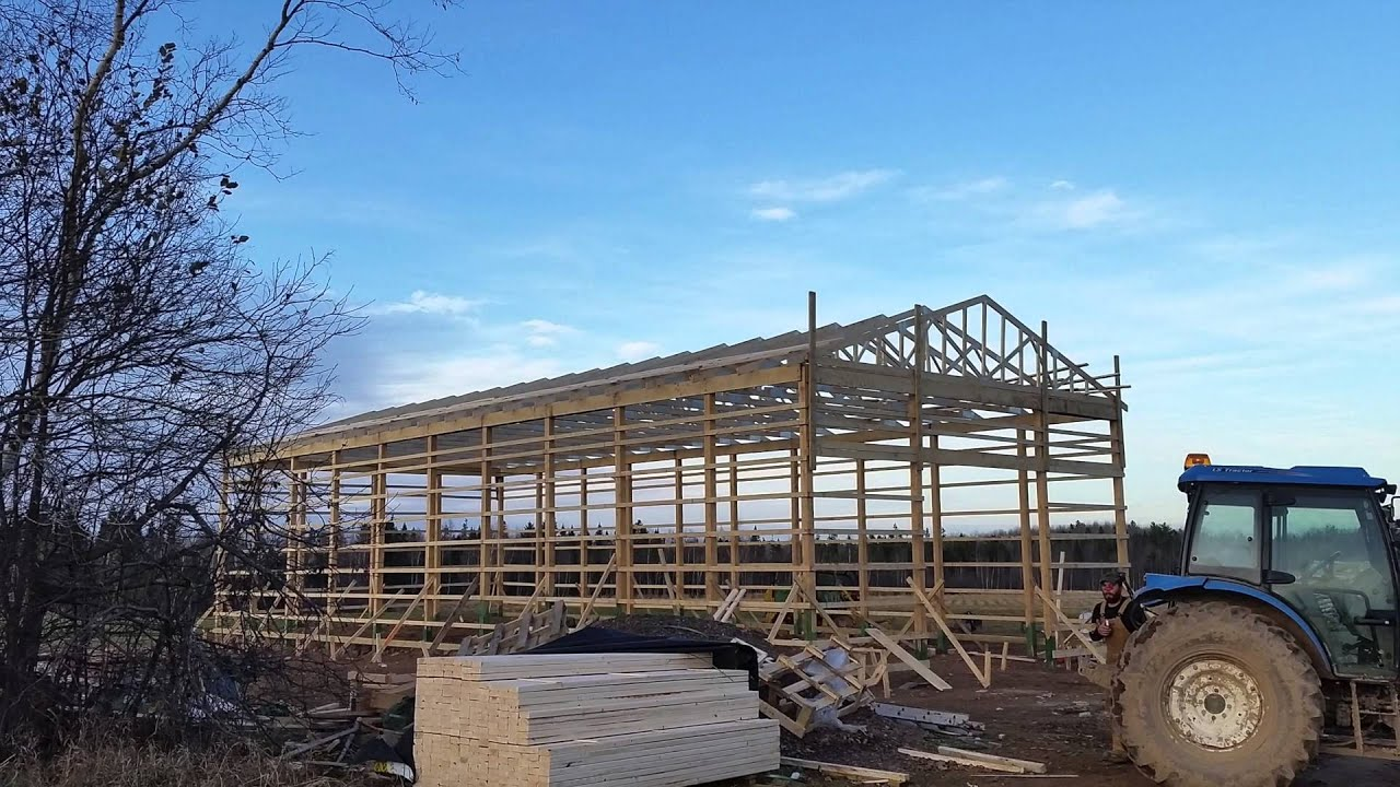 how to build a pole barn 57 x80  [ 1280 x 720 Pixel ]