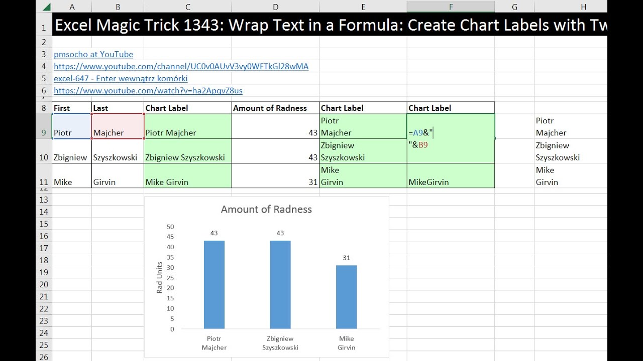Excel magic trick wrap text in  formula create chart labels with two lines also rh youtube