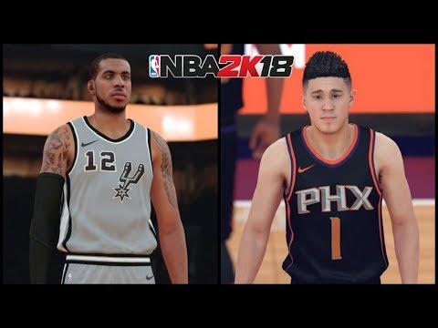 "NBA 2K18 Gameplay Phoenix Suns vs San Antonio Spurs  (Alternate ""Statement"" Uniforms)"