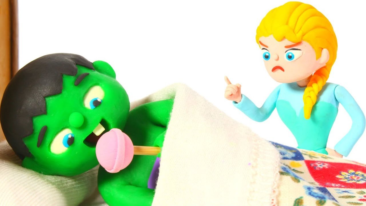 HULK WANTS TO HAVE SWEETS BEFORE GOING TO BED ❤ Spiderman, Hulk & Frozen Play Doh Cartoons For Kids