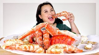 SEAFOOD BOIL: GIANT SHRIMP RECIPE + KING CRAB + GIANT LOBSTER + SCALLOP MUKBANG 먹방 EATING SHOW!