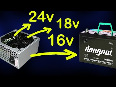 charge 12v battery with power supply, convert atx power supply to 16v   24v  28vdc