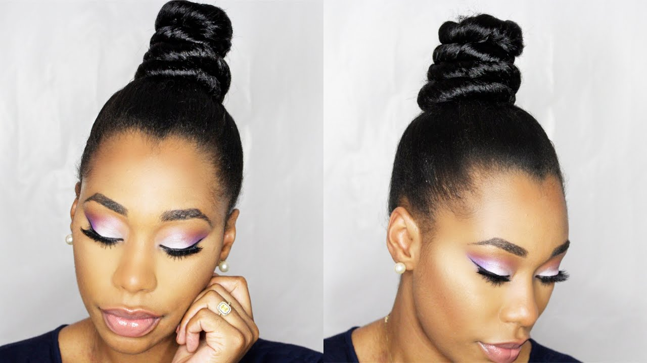 How To: NINJA TOP KNOT BUN With BRAIDING HAIR Step By Step ...