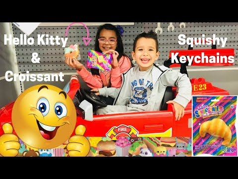 Hello Kitty and Croissant Squishy Keychain Toys Review on the Trampoline!