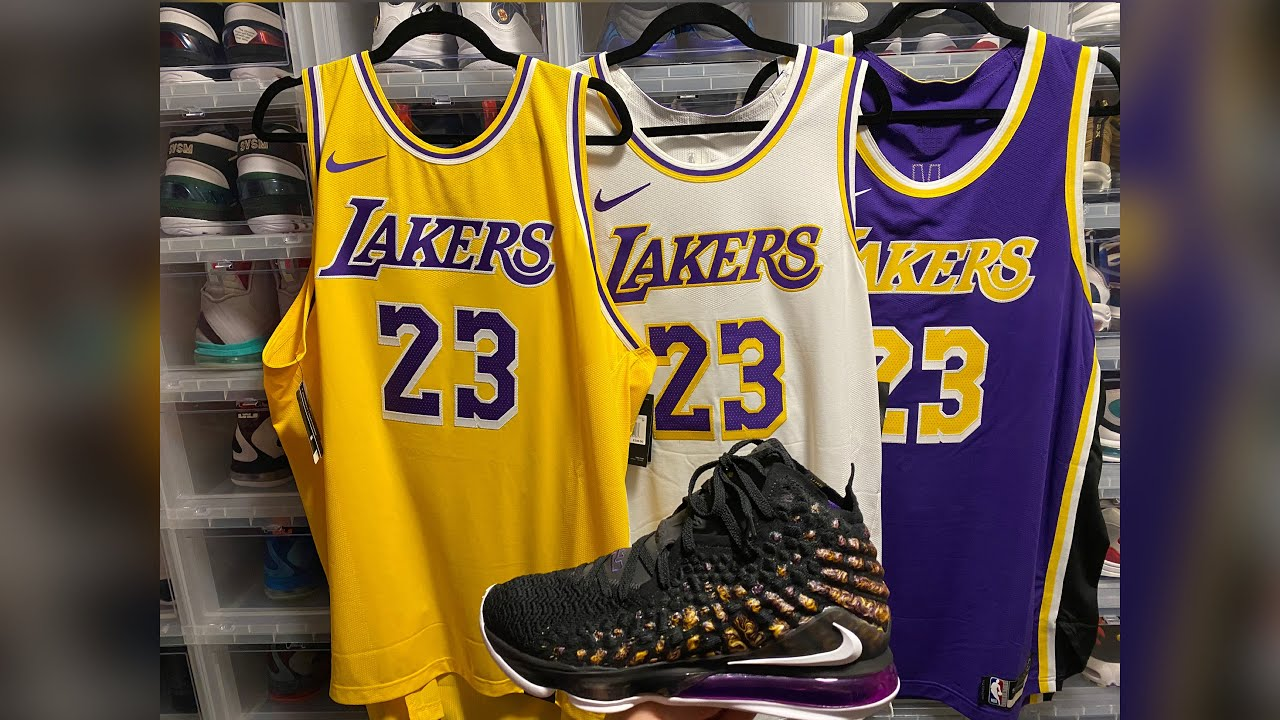 Nike Lebron James Authentic Lakers Jerseys & Nike Lebron 17