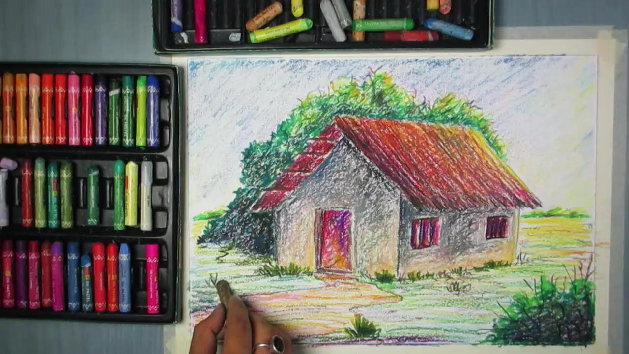 how to draw a house landscape with oil pastel youtube