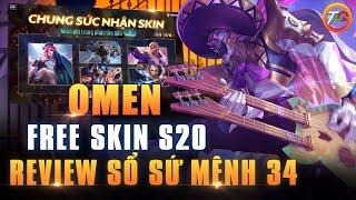 Liên quân Free Skin [Toàn Server] Omen nhạc sĩ huyền thoại Review sổ sứ mệnh 34 TNG