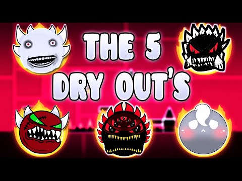 """THE 5 DRY OUTS"" !!! - GEOMETRY DASH BETTER & RANDOM LEVELS"