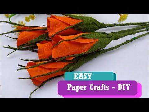 Very Easy Paper Rose Buds Tutorial   Crepe Paper Rose Flower Making   DIY Flowers   Guggu Kids
