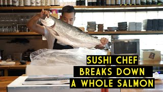 Chef Jay demonstrates how to breakdown a whole Big Glory Bay King Salmon for sushi and sashimi