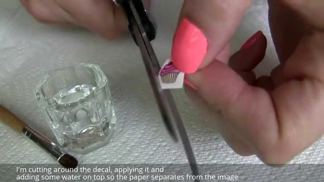 How to apply water nail decals stickers over gelish gel polish youtube
