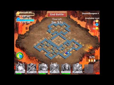 Castle Clash Insane Dungeon 4-10 3 Flamed With F2p Heroes (4 Shard Heroes) Using Ice Demon