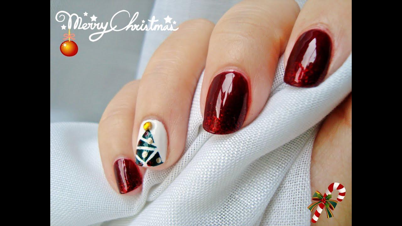 Diseno De Unas Arbol De Navidad Nail Design Christmas