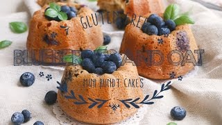 Gluten Free Blueberries and oat mini bundt cakes