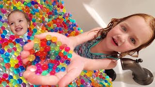 Adley &amp Niko grow ORBEEZ!!  the ultimate ball pit inside our bathroom! family games &amp lunch routine