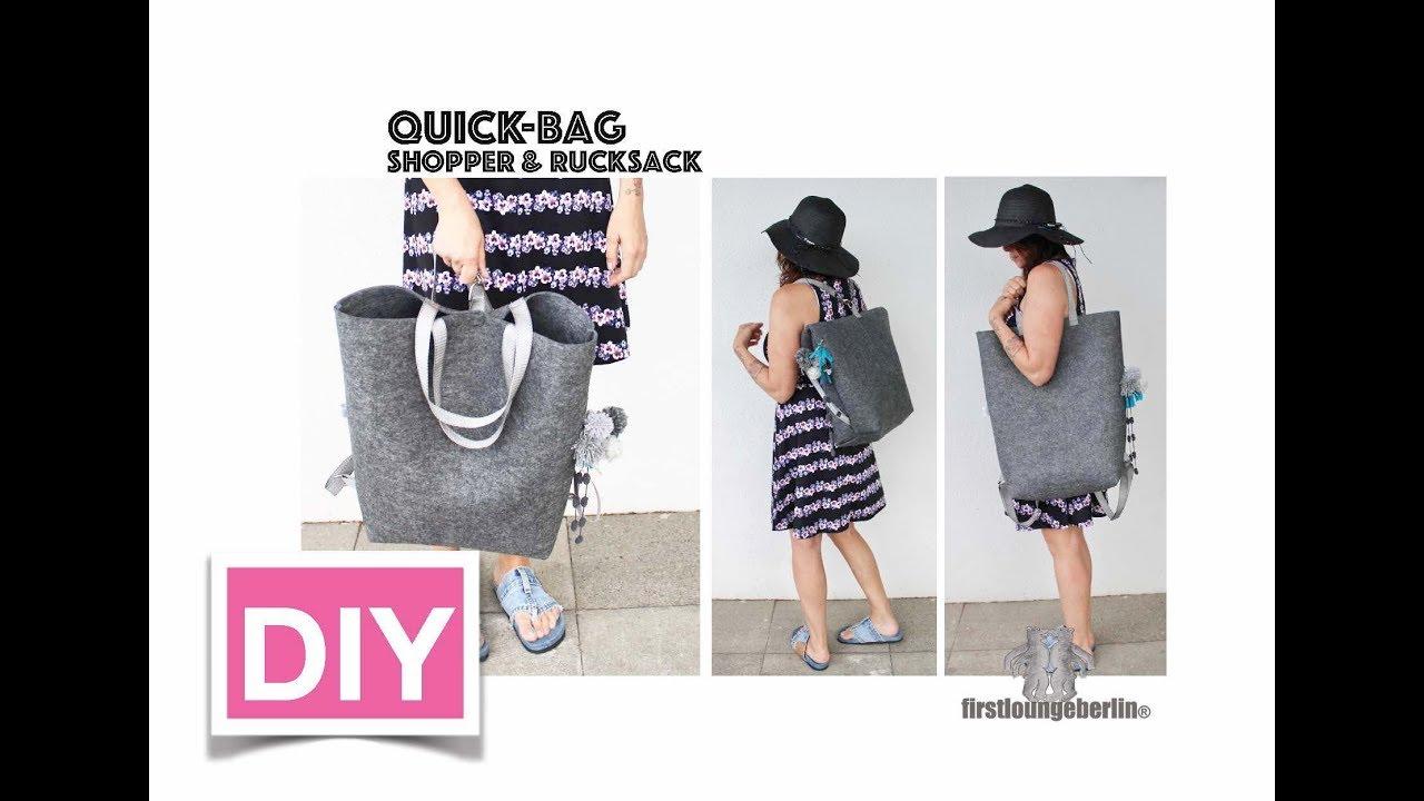 quick bag shopper rucksack mit einer tasche diy n hen youtube. Black Bedroom Furniture Sets. Home Design Ideas