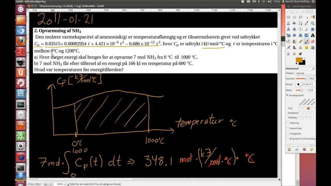 2011-01-21 Opgave 2. Opvarmning af ammoniak