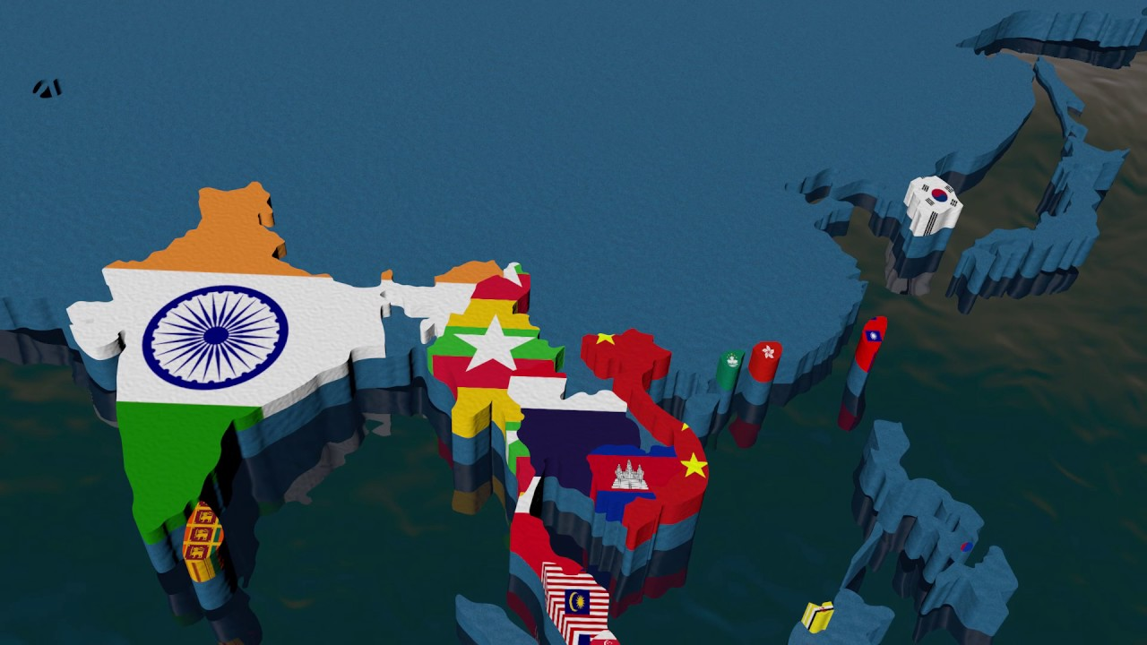 Map Of Asia 3d.3d Map Of Asia With Flags