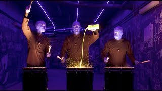 EPIC Paint Drumming Drumline in NEON LIGHTS - Blue Man Group at Orlando City Soccer game