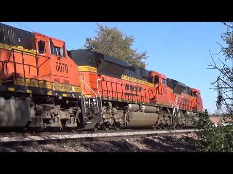 BNSF Ft Scott Sub - Run 8 Trains Struggling Uphill, Lenexa, KS